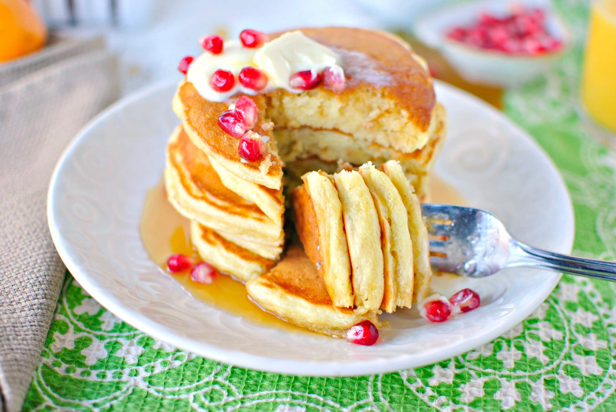 Tasty Kitchen Blog: Eggnog Pancakes. Guest post by Laurie McNamara of Simply Scratch, recipe submitted by TK member Kita of Pass the Sushi.