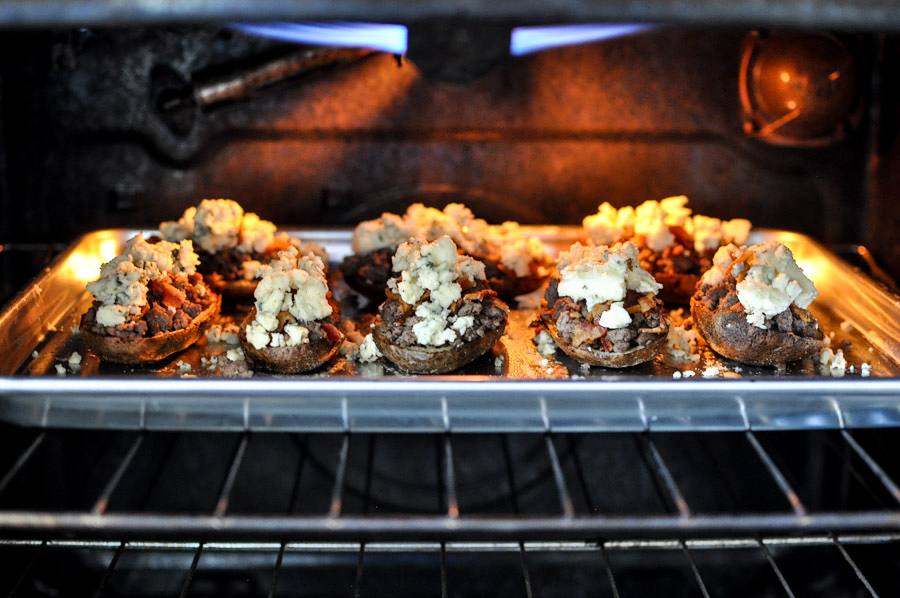 Tasty Kitchen Blog: Bacon and Blue Cheeseburger Potato Skins. Guest post by Jessica Merchant of How Sweet It Is, recipe submitted by TK member Dax Phillips of Simple Comfort Food.