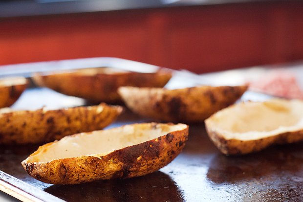 Tasty Kitchen Blog: Ham and Cheese Potato Skins. Guest post by Amber Potter of Sprinkled with Flour, recipe submitted by TK member Dax Phillips of Simple Comfort Food.