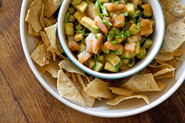 Tasty Kitchen Blog: Tortilla Chips with Shrimp Ceviche Dip. Guest post by Gaby Dalkin of What's Gaby Cooking, recipe submitted by TK member Three Many Cooks.