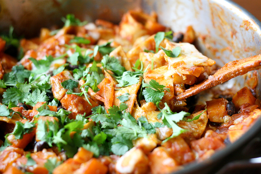 Tasty Kitchen Blog: Butternut and Black Bean Enchilada Skillet. Guest post by Natalie Perry of Perry's Plate, recipe submitted by TK member Monique of Ambitious Kitchen.