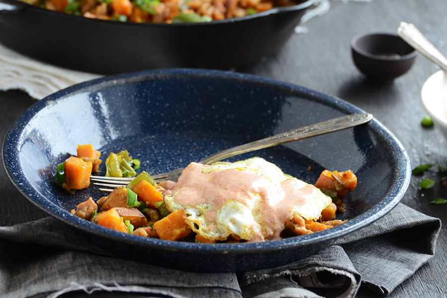 Tasty Kitchen Blog: Sweet Potato Hash with Paprika Yogurt Sauce. Guest post by Faith Gorsky of An Edible Mosaic, recipe submitted by TK member Jayne of Tenacious Tinkering.