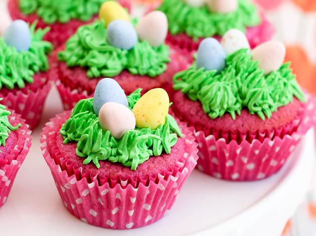 Tasty Kitchen Blog: Easter Cuteness. Raspberry Easter Egg Cupcakes from TK member Krissy of Krissy's Creations.