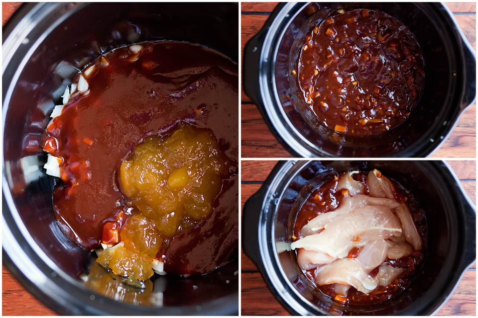 Tasty Kitchen Blog: Slow Cooker Peach BBQ Chicken Sandwiches. Guest post by Amber Potter of Sprinkled with Flour, recipe submitted by TK member Marie of Little Kitchie.