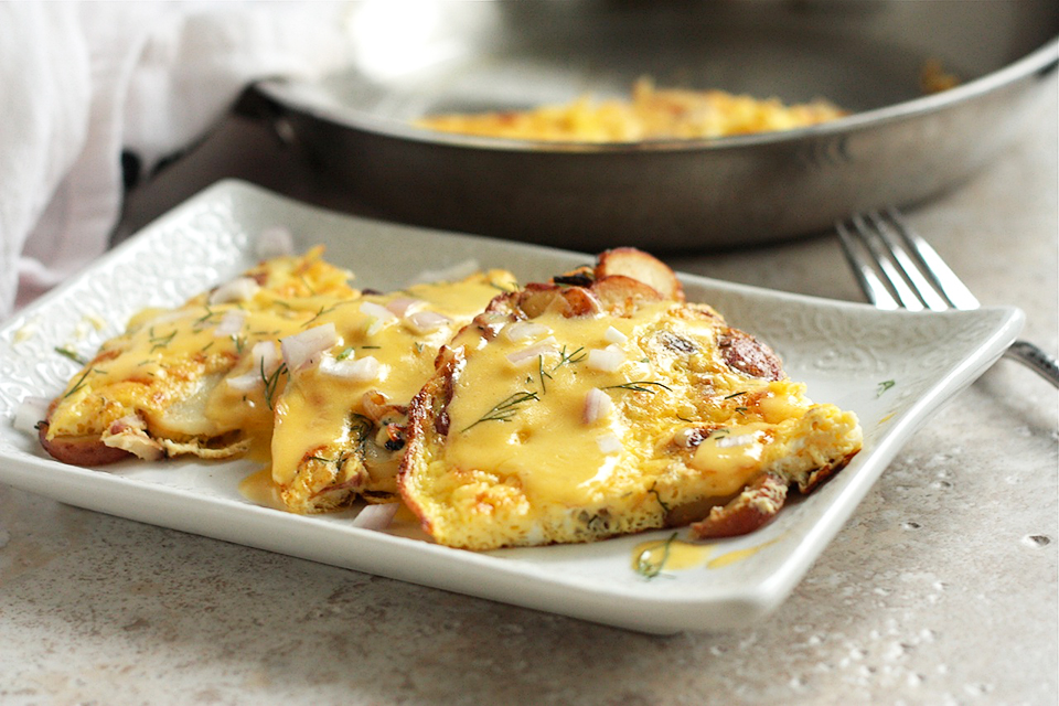 Tasty Kitchen Blog: Looks Delicious! Potato Dill Frittata with White Cheddar Hollandaise by TK member Megan of Wanna Be A Country Cleaver.
