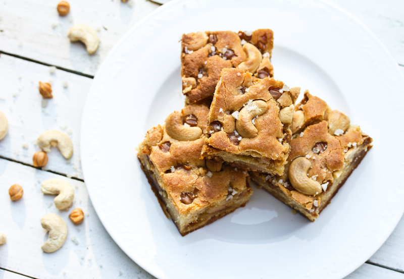 Tasty Kitchen Blog: Looks Delicious! Salted Caramel Cashew Blondies, submitted by TK member Sommer of A Spicy Perspective.