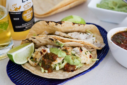 Fish tacos with avocado cabbage slaw tasty kitchen blog for Pioneer woman fish tacos