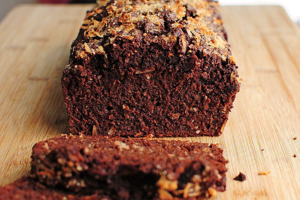 Tasty Kitchen Blog: Dark Chocolate Banana Bread (with Coconut). Guest post by Amy Johnson of She Wears Many Hats, recipe submitted by TK members Chrissy and Lauren of Little Yellow Kitchen.