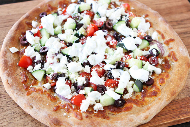 Tasty Kitchen Blog: Greek Pizza. Guest post by Maria Lichty of Two Peas and Their Pod, recipe submitted by TK member Riley of My Daily Morsel.