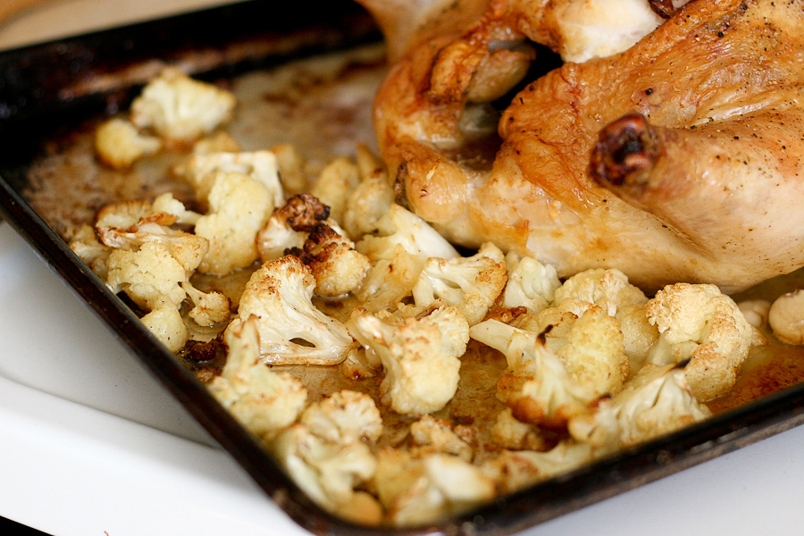 Tasty Kitchen Blog: Bacon Stuffed Whole Roasted Chicken with Cauliflower. Guest post by Natalie Perry of Perry's Plate, recipe submitted by TK member Jennifer of Mama Schelle Says.