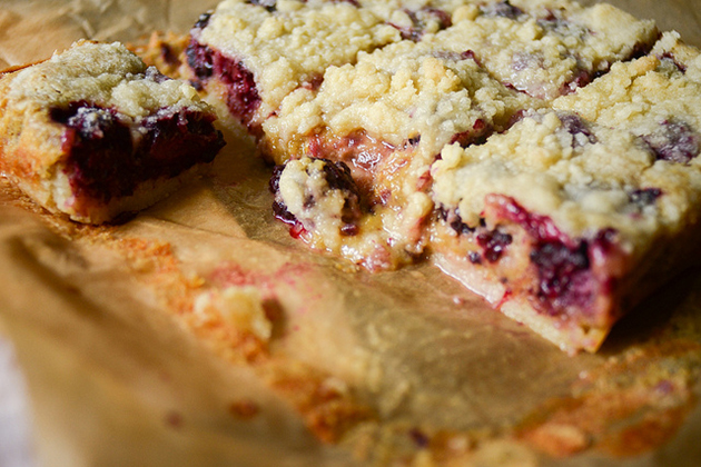 Tasty Kitchen Blog: Blackberry Cobbler Bars. Guest post by Erica Kastner of Buttered Side Up, recipe submitted by TK member Amber of Sprinkled with Flour.