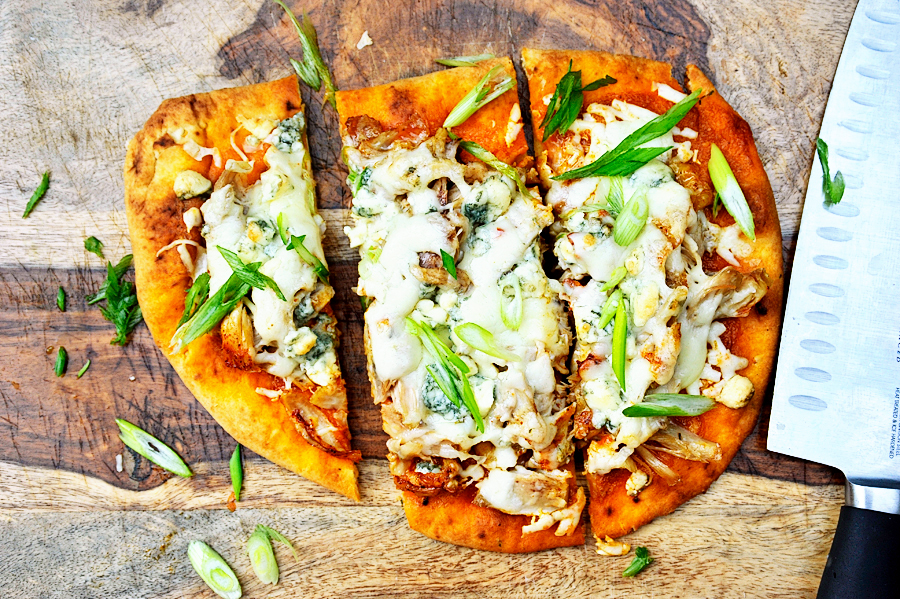 Tasty Kitchen Blog: Buffalo Chicken Flat Bread Pizzas. Guest post by Georgia Pellegrini, recipe submitted by TK member Laurie of Simply Scratch.