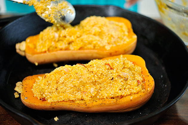 Tasty Kitchen Blog: Twice-Baked Butternut Squash with Quinoa, Pecans and Parmesan. Guest post by Georgia Pellegrini, recipe submitted by TK member Jess of Inquiring Chef.