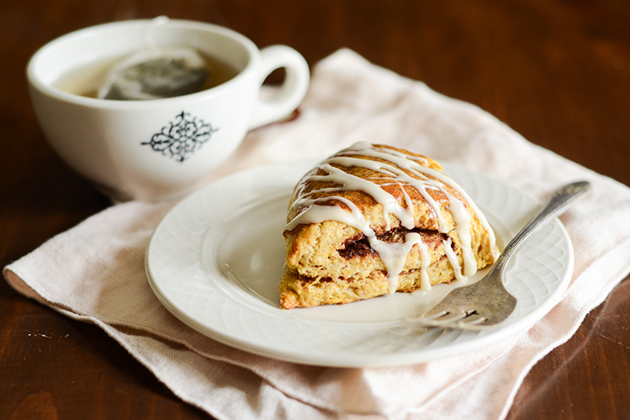 Tasty Kitchen Blog: Pumpkin Cinnamon Roll Scones. Guest post by Erica Kastner of Buttered Side Up, recipe submitted by TK member Erin of Naturally Ella.