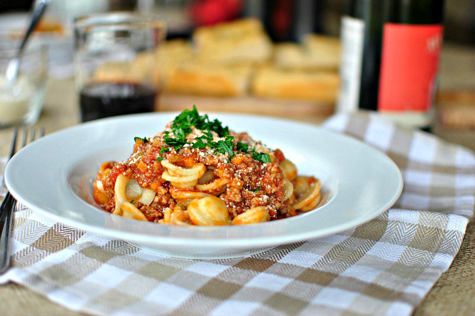 Tasty Kitchen Blog: Orecchiette Bolognese. Guest post by Laurie McNamara of Simply Scratch, recipe submitted by TK member Nam of The Culinary Chronicles.
