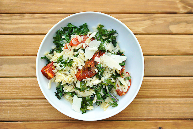 Tasty Kitchen Blog: Orzo with Kale and Roasted Tomatoes. Guest post by Georgia Pellegrini, recipe submitted by TK member Lindsay of FunnyLove