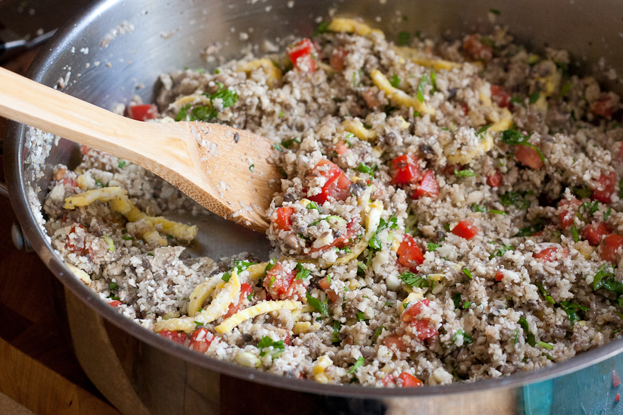 Tasty Kitchen Blog: Paleo-friendly Cauliflower Fried Rice. Guest post by Natalie Perry of Perry's Plate, recipe submitted by TK member Dani of Expat Cucina.