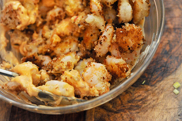 Tasty Kitchen Blog: Lightened-Up Bang Bang Shrimp Salad. Guest post by Georgia Pellegrini, recipe submitted by TK member Sarah of The Coffee Breaker.
