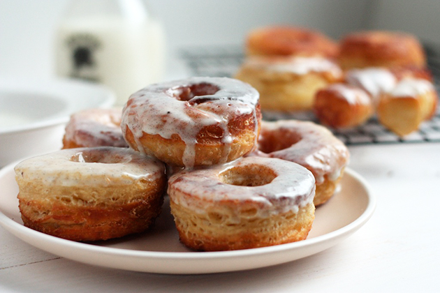 Tasty Kitchen Blog: Vanilla Buttermilk Glazed Croissant Donuts. Guest post by Megan Keno of Wanna Be a Country Cleaver, recipe submitted by TK member Chris Castro of Salt and Smoke.