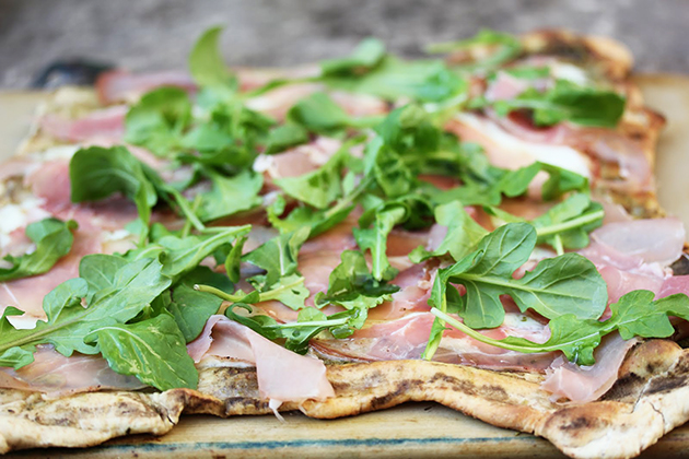 Tasty Kitchen Blog Anniversary Giveaway #2: Grilling Tools (Grilled Mozzarella, Prosciutto, and Arugula Pizza, submitted by TK member Meagan of A Zesty Bite)