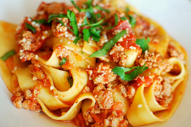 Tasty Kitchen Blog Anniversary Giveaway #3: Le Creuset French Oven (Turkey Bolognese Ragu with Pappardelle, submitted by TK member Nam of The Culinary Chronicles)