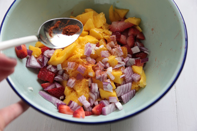 Tasty Kitchen Blog: Strawberry Mango Salsa. Guest post by Megan Keno of Wanna Be a Country Cleaver, recipe submitted by TK member Danae of Recipe Runner.