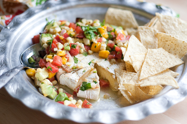 Tasty Kitchen Blog: Grilled Brie with Grilled Corn and Mango Salsa. Guest post by Natalie Perry of Perry's Plate, recipe submitted by TK member Justine of Cooking and Beer.