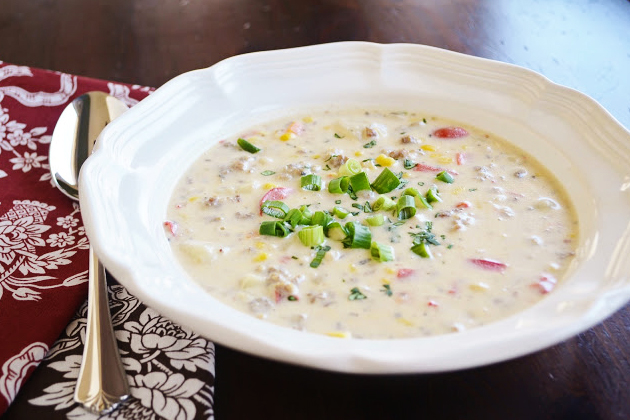 Tasty Kitchen Blog: Looks Delicious! (Italian Sausage and Corn Chowder, submitted by TK member Kim of Sunday Supper Club)