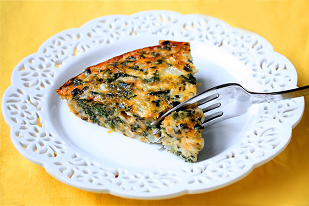 Tasty Kitchen Blog: Crustless Spinach Quiche. Guest post by Georgia Pellegrini, recipe submitted by TK member Ali of Gimme Some Oven.