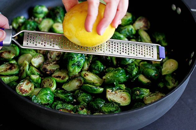 Tasty Kitchen Blog: Lemon and Garlic Drenched Brussels Sprouts Guest post by Dara Michalski of Cookin' Canuck, recipe submitted by TK member Gaby of What's Gaby Cooking.