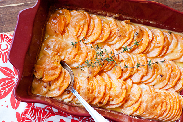 Tasty Kitchen Blog: Scalloped Hasselback Sweet Potatoes. Guest post by Natalie Perry of Perry's Plate, recipe submitted by TK member Tove of Sweet Sour Savory.