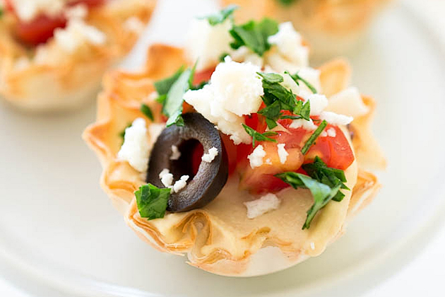 Tasty Kitchen Blog: Looks Delicious! Super Bowl Food (Greek Hummus Phyllo Bites, submitted by TK member Kelley Simmons of Chef Savvy)