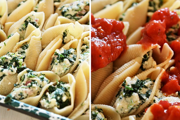 Tasty Kitchen Blog: Spinach and Prosciutto Stuffed Shells. Guest post by Megan Keno of Wanna Be a Country Cleaver, recipe submitted by TK member Emily of Gather & Dine.