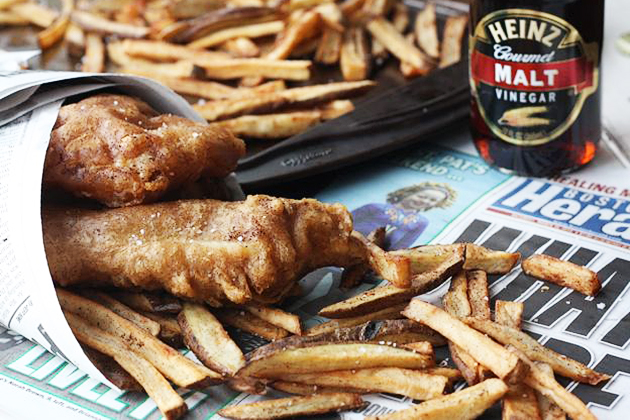 Tasty Kitchen Blog: Looks Delicious! (Guinness-Beer-Battered Cod and Chips, submitted by TK member Melanie of A Beautiful Bite)