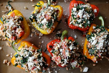 Tasty Kitchen Blog: Greek Stuffed Peppers with Feta & Spinach. Guest post by Megan Keno of Wanna Be a Country Cleaver, recipe submitted by TK member Jen of The Scrumptious Pumpkin.