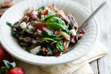 Tasty Kitchen Blog: Warm Strawberry Bacon Orzo Salad. Guest post by Erica Kastner of Buttered Side Up, recipe submitted by TK member Jessica of How Sweet It Is.