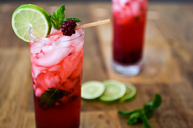 Tasty Kitchen Blog: The Theme is Mojitos! (Boysenberry Mojitos, submitted by TK member Natalie Wiser-Orozco of The Devil Wears Parsley)