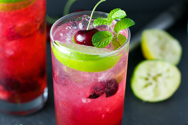Tasty Kitchen Blog: The Theme is Mojitos! (Cherry Lime Mojito, submitted by TK member Mira of Cooking LSL)