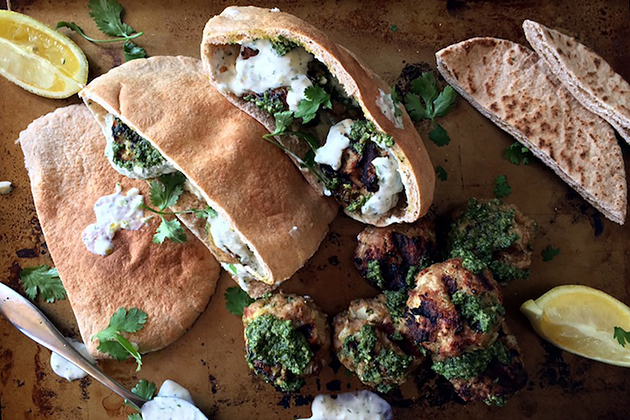 Tasty Kitchen Blog: Grilled Turkey Meatball Gyros. Guest post by Megan Keno of Wanna Be a Country Cleaver, recipe submitted by TK member Julie of The Gourmet RD.