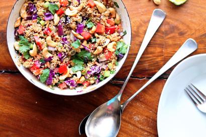 Crunchy Cashew Thai Quinoa Salad With Ginger Peanut